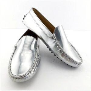 TODS Mirror Silver Driving Moccasin Loafers 35